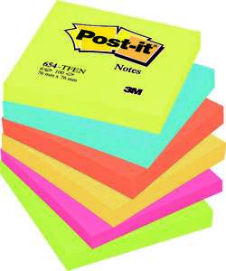 Notisblock 3M Post-it Energetic Rainbow 600st