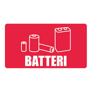 Etikettdekal Återvinning Batteri 100x180mm
