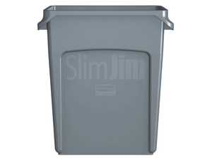 Soptunna Slim Jim utan Lock Rubbermaid Grå 60L extra bild 2